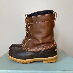 LL Bean Maine Hunting Duck Boots Leather Rubber